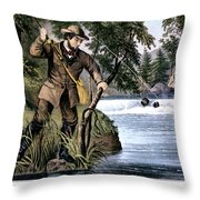 1870s Brook Trout Fishing - Currier & Throw Pillow