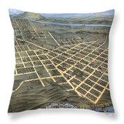 1871 Birds Eye Map Of Chattanooga Throw Pillow