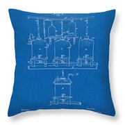 1873 Brewing Beer And Ale Patent Artwork - Blueprint Throw Pillow