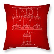 1873 Brewing Beer And Ale Patent Artwork - Red Throw Pillow