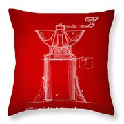 1873 Coffee Mills Patent Artwork Red Throw Pillow