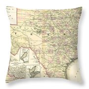1873 Texas Map By Colton Throw Pillow
