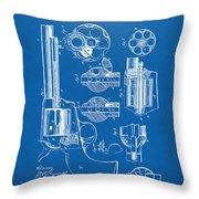 1875 Colt Peacemaker Revolver Patent Blueprint Throw Pillow