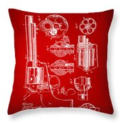 1875 Colt Peacemaker Revolver Patent Red Throw Pillow