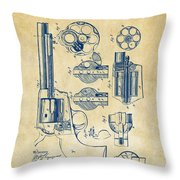 1875 Colt Peacemaker Revolver Patent Vintage Throw Pillow