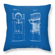 1876 Beer Keg Cooler Patent Artwork Blueprint Throw Pillow