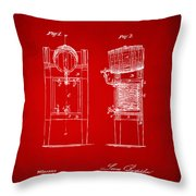 1876 Beer Keg Cooler Patent Artwork Red Throw Pillow