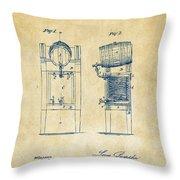 1876 Beer Keg Cooler Patent Artwork - Vintage Throw Pillow