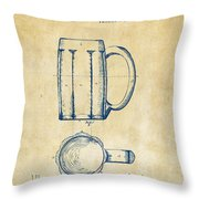 1876 Beer Mug Patent Artwork - Vintage Throw Pillow