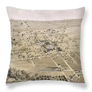 1876 Birds Eye Map Of Mckinney Texas Throw Pillow