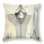 1878 Buoy Patent Drawing Throw Pillow