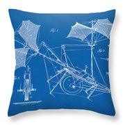 1879 Quinby Aerial Ship Patent Minimal - Blueprint Throw Pillow