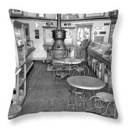 1880 Drug Store Black And White Throw Pillow