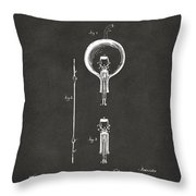 1880 Edison Electric Lamp Patent Artwork - Gray Throw Pillow