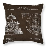 1881 Alexander Graham Bell Electric Call Bell Patent Espresso Throw Pillow