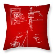 1881 Taylor Camera Obscura Patent Red Throw Pillow