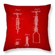 1884 Corkscrew Patent Artwork - Red Throw Pillow