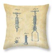 1884 Corkscrew Patent Artwork - Vintage Throw Pillow