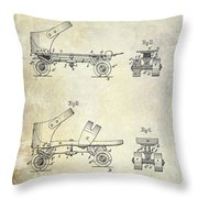 1885 Roller Skate Patent Drawing Throw Pillow