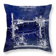 1885 Sewing Machine Patent Drawing Blue Throw Pillow