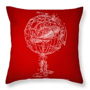 1885 Terrestro Sidereal Sphere Patent Artwork - Red Throw Pillow