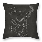 1886 Microscope Patent Artwork - Gray Throw Pillow