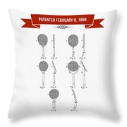 1886 Tennis Racket Patent Drawing - Retro Red Throw Pillow