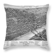 1886 Vintage Map Of Waco Texas Throw Pillow