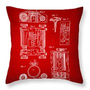 1889 First Computer Patent Red Throw Pillow