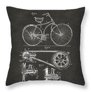 1890 Bicycle Patent Artwork - Gray Throw Pillow
