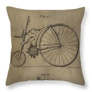 1890 Bicycle Patent Throw Pillow