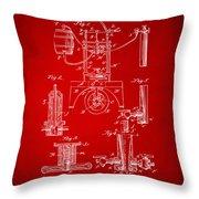 1890 Bottling Machine Patent Artwork Red Throw Pillow