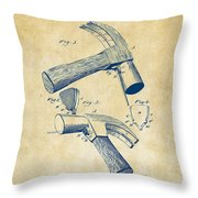 1890 Hammer Patent Artwork - Vintage Throw Pillow