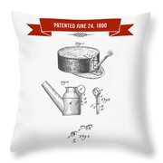 1890 Miners Lamp Holder Patent Drawing - Retro Red Throw Pillow