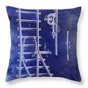 1890 Railway Switch Patent Drawing Blue Throw Pillow