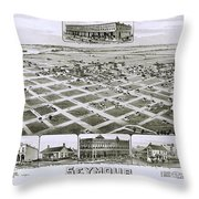 1890 Vintage Map Of Seymour Texas Throw Pillow