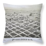 1890 Vintage Map Of Childress Texas Throw Pillow