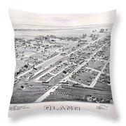 1890 Vintage Map Of Plano Texas Throw Pillow