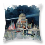 1890s Night In Grand Court Of World Throw Pillow