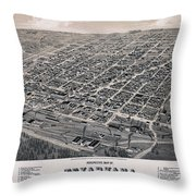 Vintage Perspective Map Of Texarkana Throw Pillow