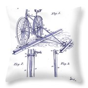 1891 Bicycle Patent Blueprint Throw Pillow
