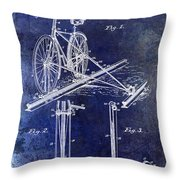 1891 Bicycle Patent Drawing Blue Throw Pillow