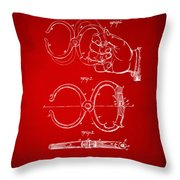 1891 Police Nippers Handcuffs Patent Artwork - Red Throw Pillow