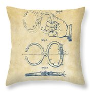 1891 Police Nippers Handcuffs Patent Artwork - Vintage Throw Pillow