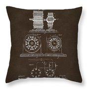 1891 Tesla Electro Magnetic Motor Patent Espresso Throw Pillow