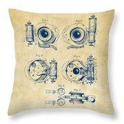 1892 Barker Camera Shutter Patent Vintage Throw Pillow
