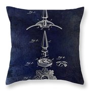 1892 Motorcycle Helmet Spike Patent Drawing Blue Throw Pillow