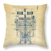 1894 Tesla Electric Generator Patent Vintage Throw Pillow by Nikki Marie Smith
