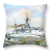 1895 - The Brandenburg Squadron At Sea - Color Throw Pillow
