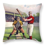 1895 Batter Up At Home Plate Throw Pillow by Daniel Hagerman